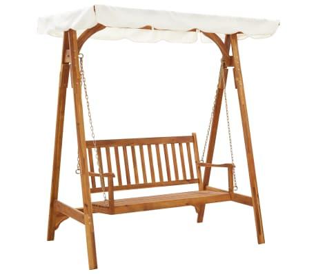 vidaXL Garden Swing Bench with Canopy Solid Acacia Wood