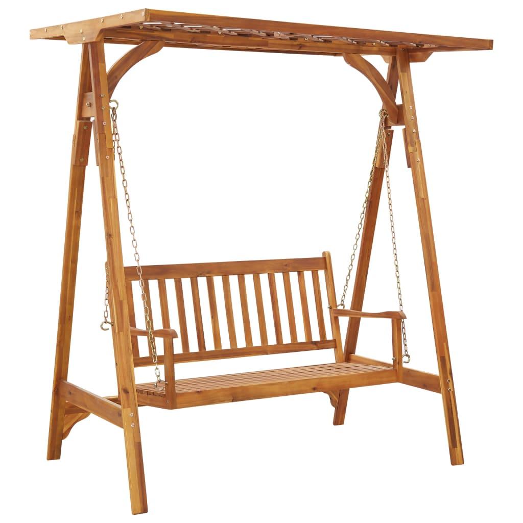 vidaXL Balansoar de grădină cu șipci, lemn masiv de acacia imagine vidaxl.ro