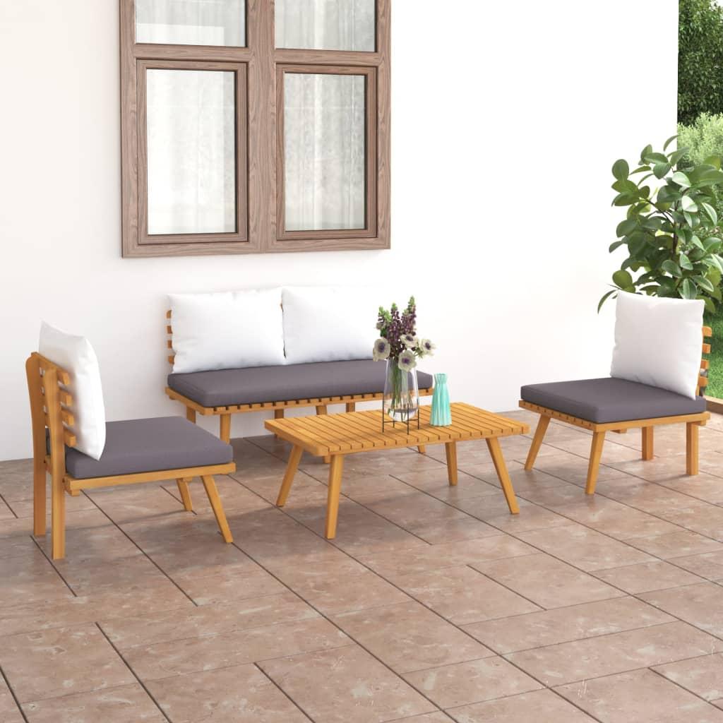 vidaXL Set mobilier de grădină cu perne, 4 piese, lemn masiv de acacia imagine vidaxl.ro