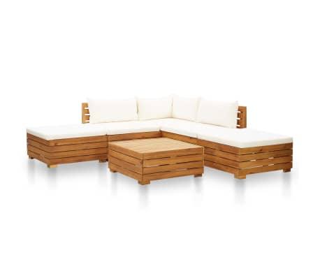 vidaXL 6 Piece Garden Lounge Set with Cushions Acacia Wood Cream White