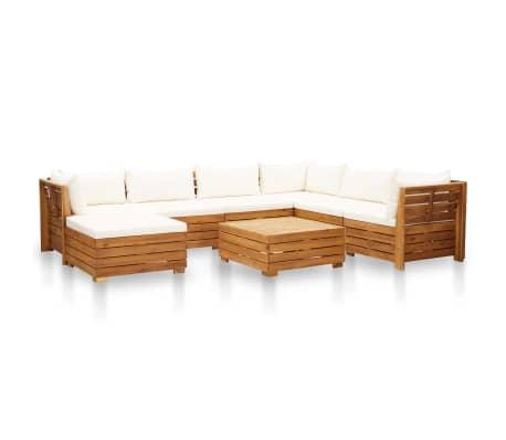 vidaXL 8-dielna záhradná súprava+podložky, akáciové drevo, krémová