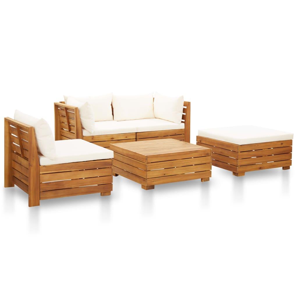 5dílná zahradní sedací souprava a podušky akácie krémově bílá