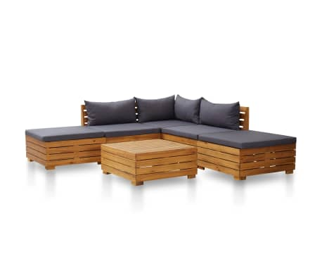 vidaXL 6 Piece Garden Lounge Set with Cushions Acacia Wood Dark Grey