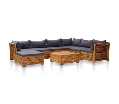 vidaXL 8 Piece Garden Lounge Set with Cushions Acacia Wood Dark Grey