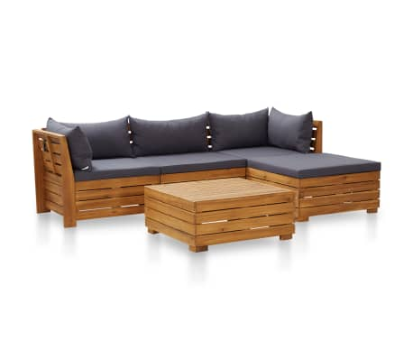 vidaXL 5 Piece Garden Lounge Set with Cushions Acacia Wood Dark Grey