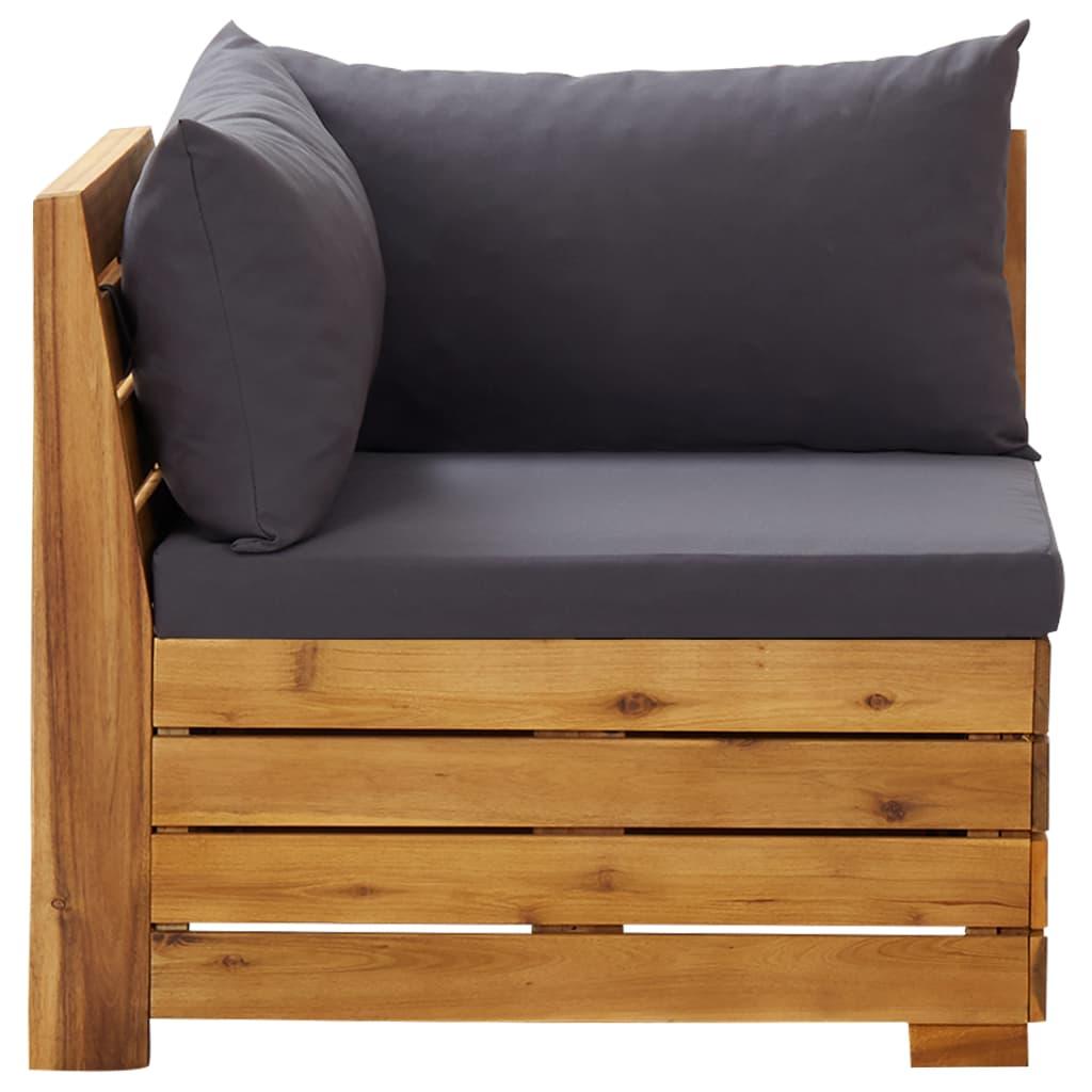 vidaXL Canapea de colț modulară cu perne, 1 buc., lemn masiv de acacia imagine vidaxl.ro