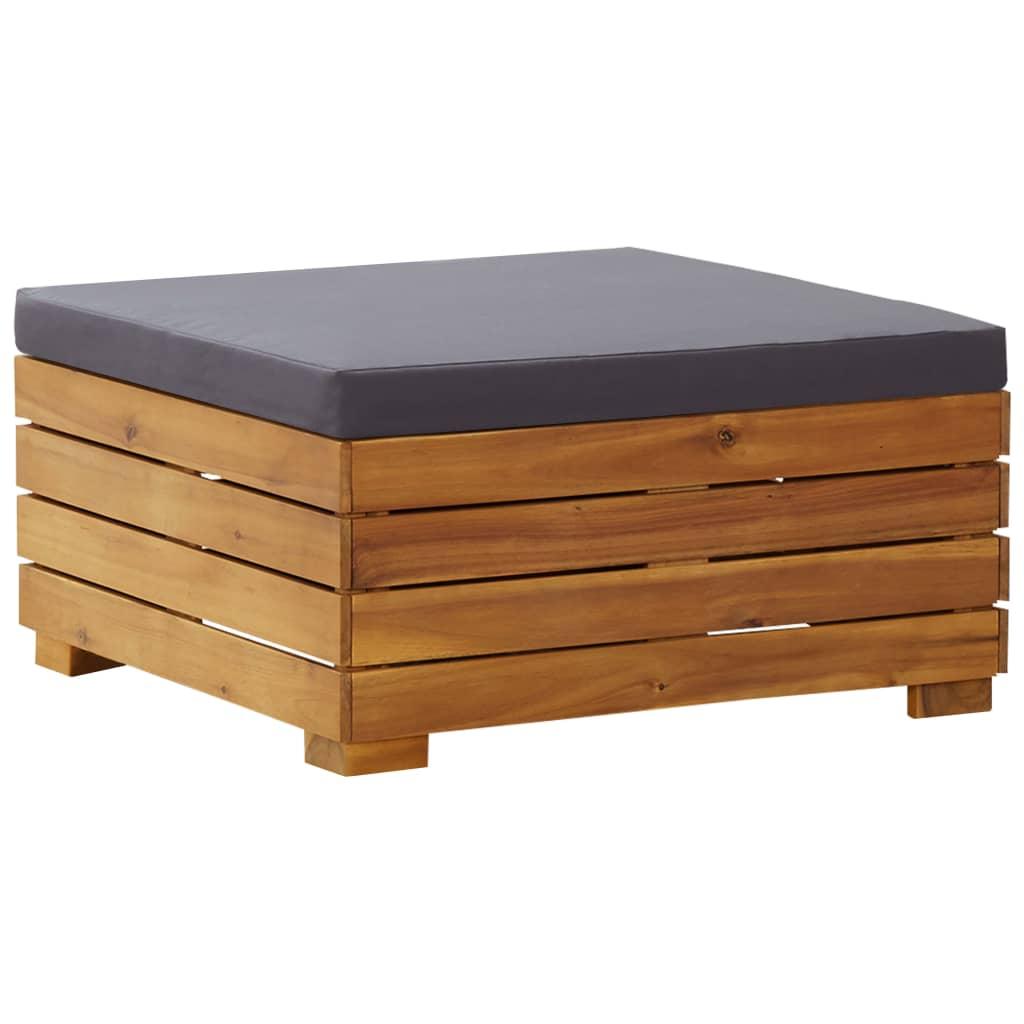 vidaXL Dílčí podnožka s poduškou 1 ks masivní akáciové dřevo
