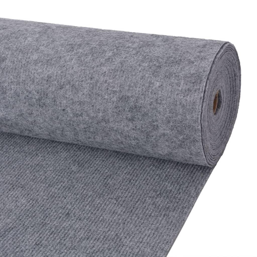 vidaXL Výstavářský koberec vroubkovaný 1,6 x 10 m šedý