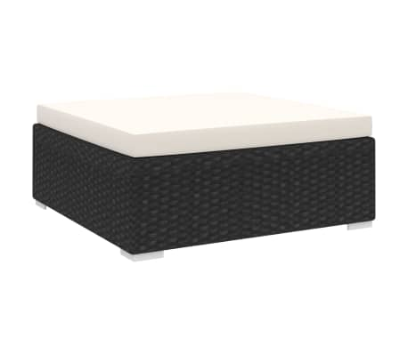 vidaXL Sectional Footrest with Cushion Poly Rattan Black