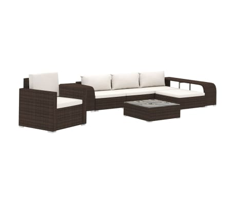 vidaXL 8 Piece Garden Lounge Set with Cushions Poly Rattan Brown