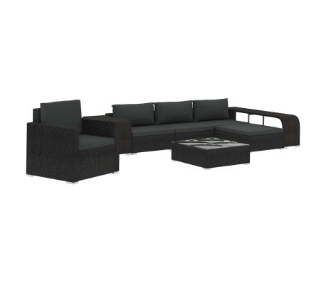 vidaXL 8 Piece Garden Lounge Set with Cushions Poly Rattan Black
