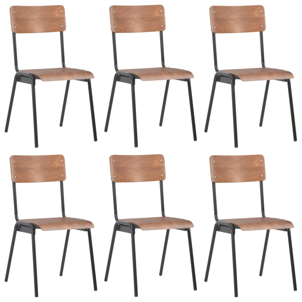 vidaXL Καρέκλες Τραπεζαρίας 6 τεμ. Καφέ από Κόντρα Πλακέ