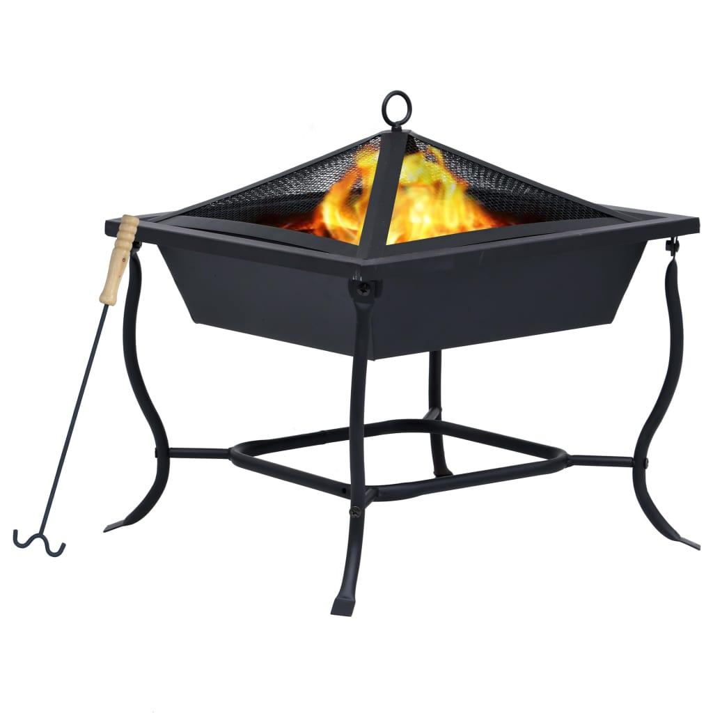 vidaXL Vatră de foc, negru, 45 x 45 x 45 cm, oțel poza 2021 vidaXL
