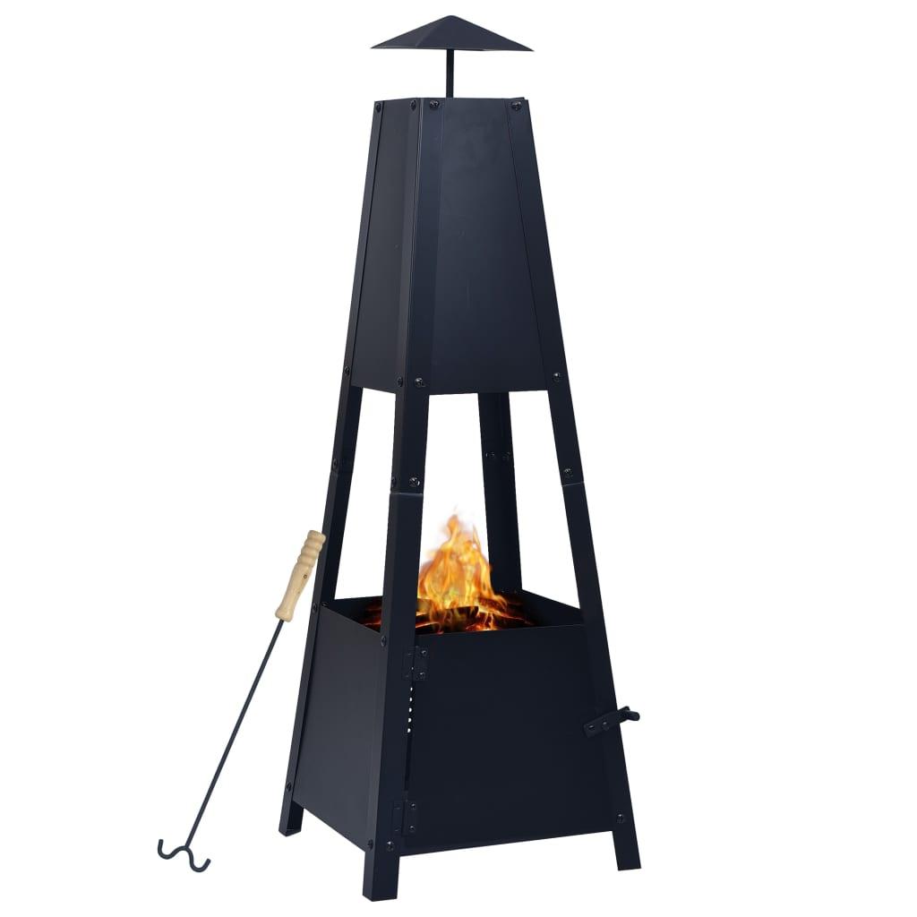 vidaXL Vatră de foc, negru, 35 x 35 x 99 cm, oțel poza 2021 vidaXL