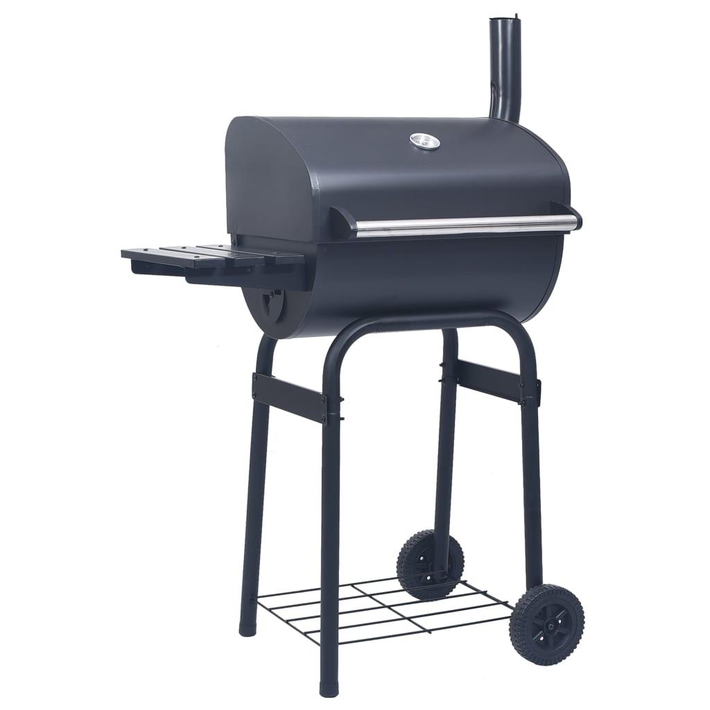 vidaXL Grătar barbecue cu cărbuni, afumătoare și raft inferior, negru poza vidaxl.ro