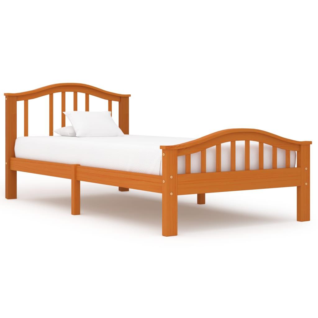vidaXL Cadru de pat, maro miere, 100 x 200 cm, lemn masiv de pin poza vidaxl.ro