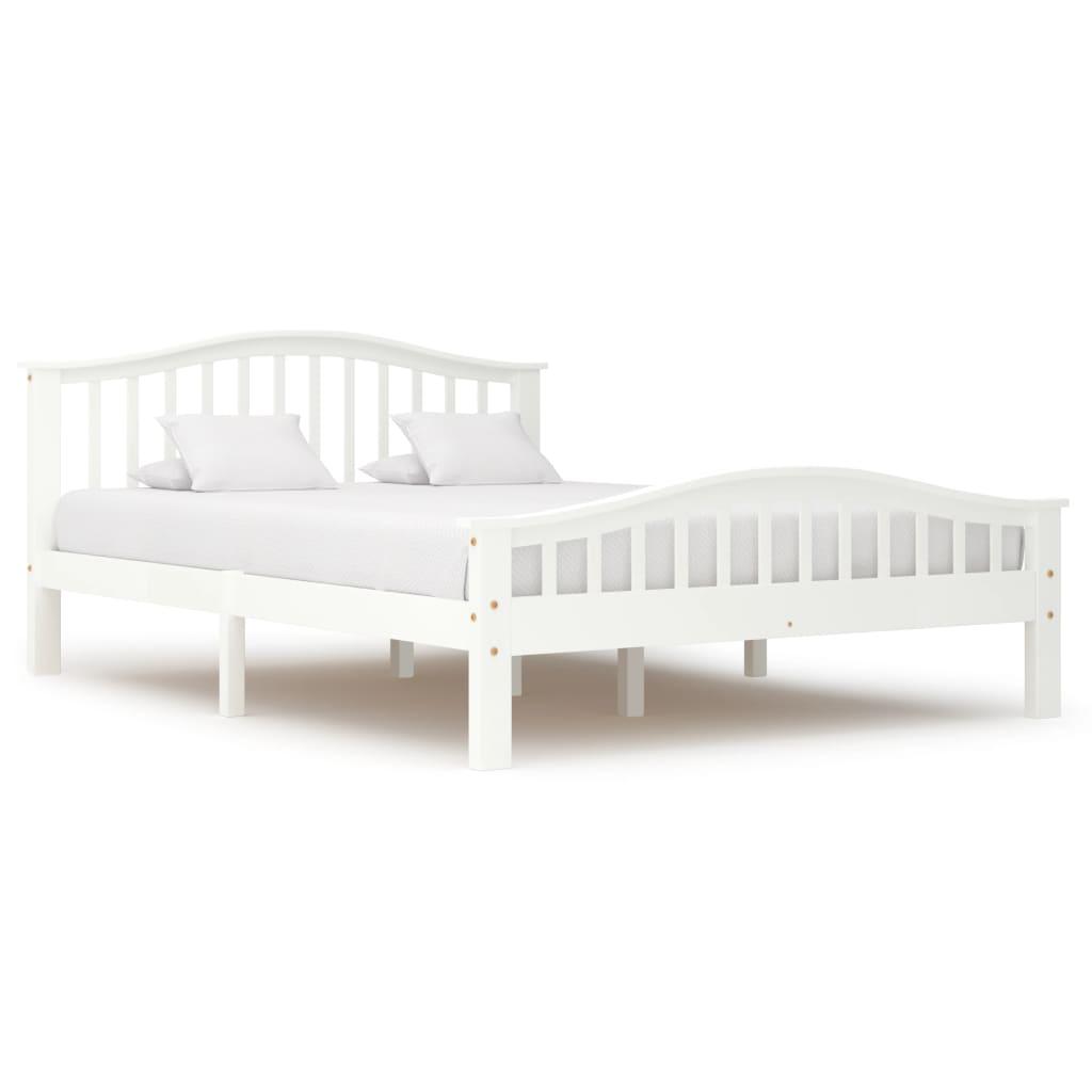 vidaXL Cadru de pat, alb, 140 x 200 cm, lemn masiv de pin poza 2021 vidaXL