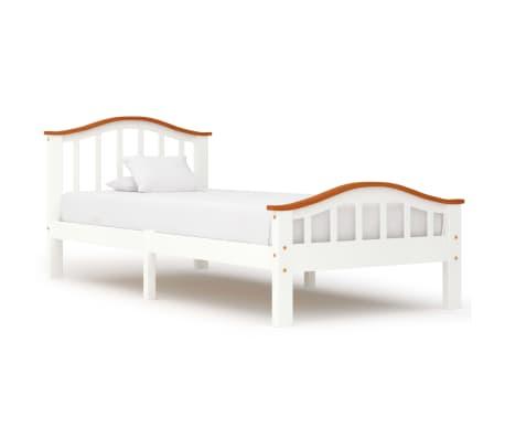 vidaXL Cadru de pat, alb și stejar, 90 x 200 cm, lemn masiv de pin