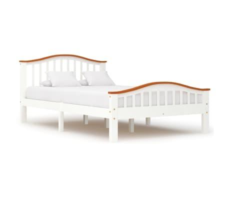 vidaXL Cadru de pat, alb și stejar, 120 x 200 cm, lemn masiv de pin