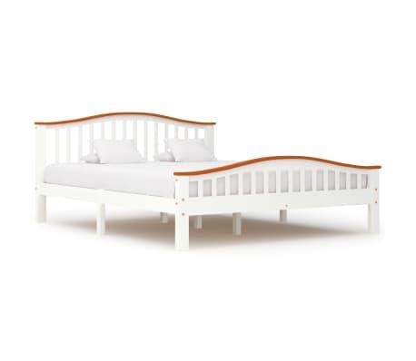 vidaXL Cadru de pat, alb și stejar, 160 x 200 cm, lemn masiv de pin