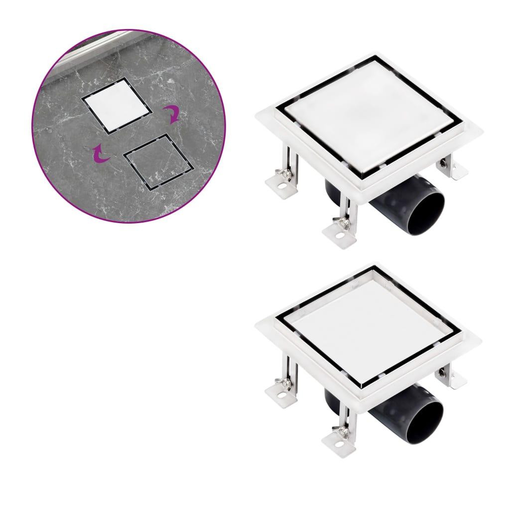 Sprchový odtok 2v1 vpusť do podlahy a do dlažby 12x12 cm nerez