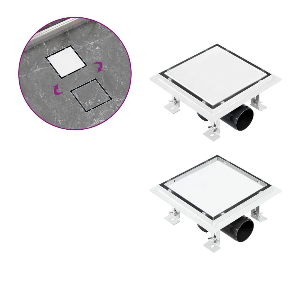 Sprchový odtok 2v1 vpusť do podlahy a do dlažby 15x15 cm nerez