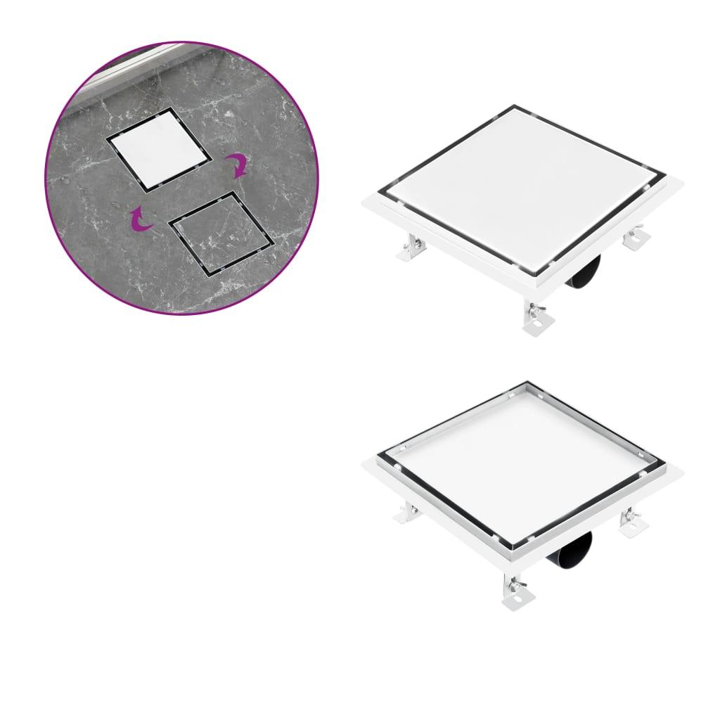 Sprchový odtok 2v1 vpusť do podlahy a do dlažby 20x20 cm nerez