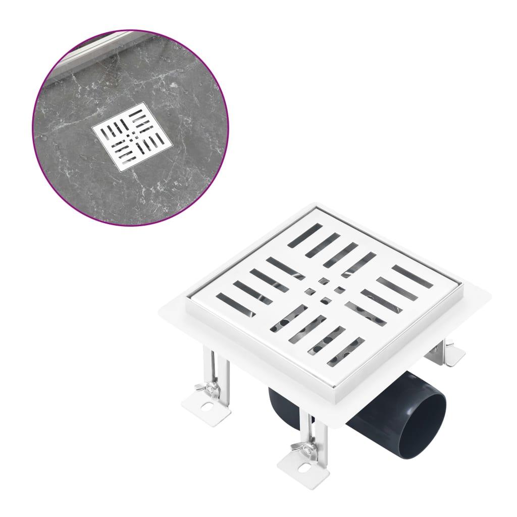 vidaXL Rigolă duș, fante verticale/orizontale 12x12 cm oțel inoxidabil poza vidaxl.ro