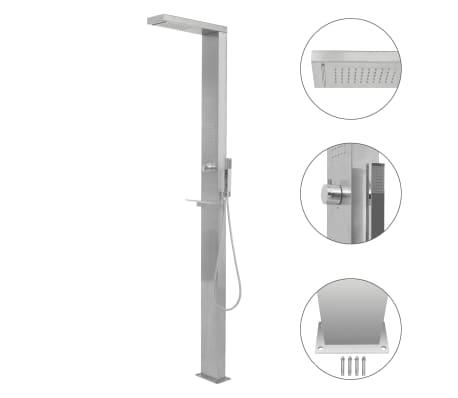 vidaXL Outdoor Shower Stainless Steel Square
