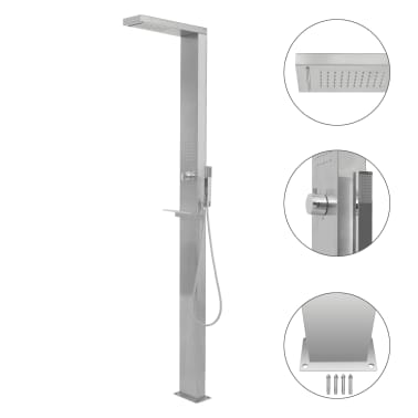 vidaXL Shower Panel System Stainless Steel Square[1/7]