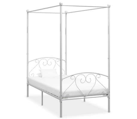 vidaXL Rama łóżka z baldachimem, biała, metalowa, 100 x 200 cm