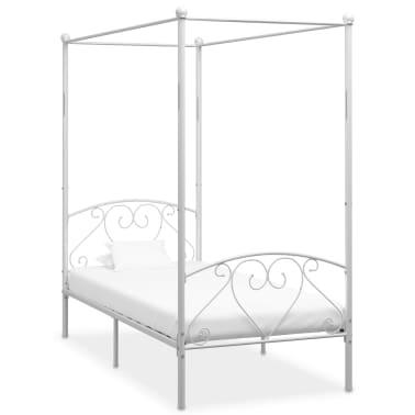 vidaXL Cadre de lit à baldaquin Blanc Métal 100 x 200 cm[1/5]