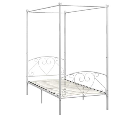 vidaXL Cadre de lit à baldaquin Blanc Métal 100 x 200 cm[2/5]