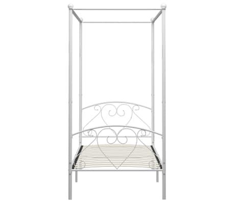 vidaXL Cadre de lit à baldaquin Blanc Métal 100 x 200 cm[3/5]