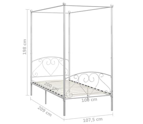 vidaXL Cadre de lit à baldaquin Blanc Métal 100 x 200 cm[5/5]