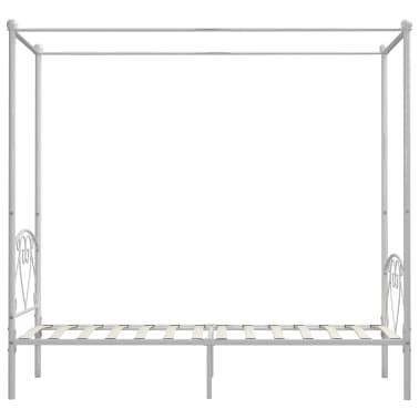 vidaXL Cadre de lit à baldaquin Blanc Métal 100 x 200 cm[4/5]