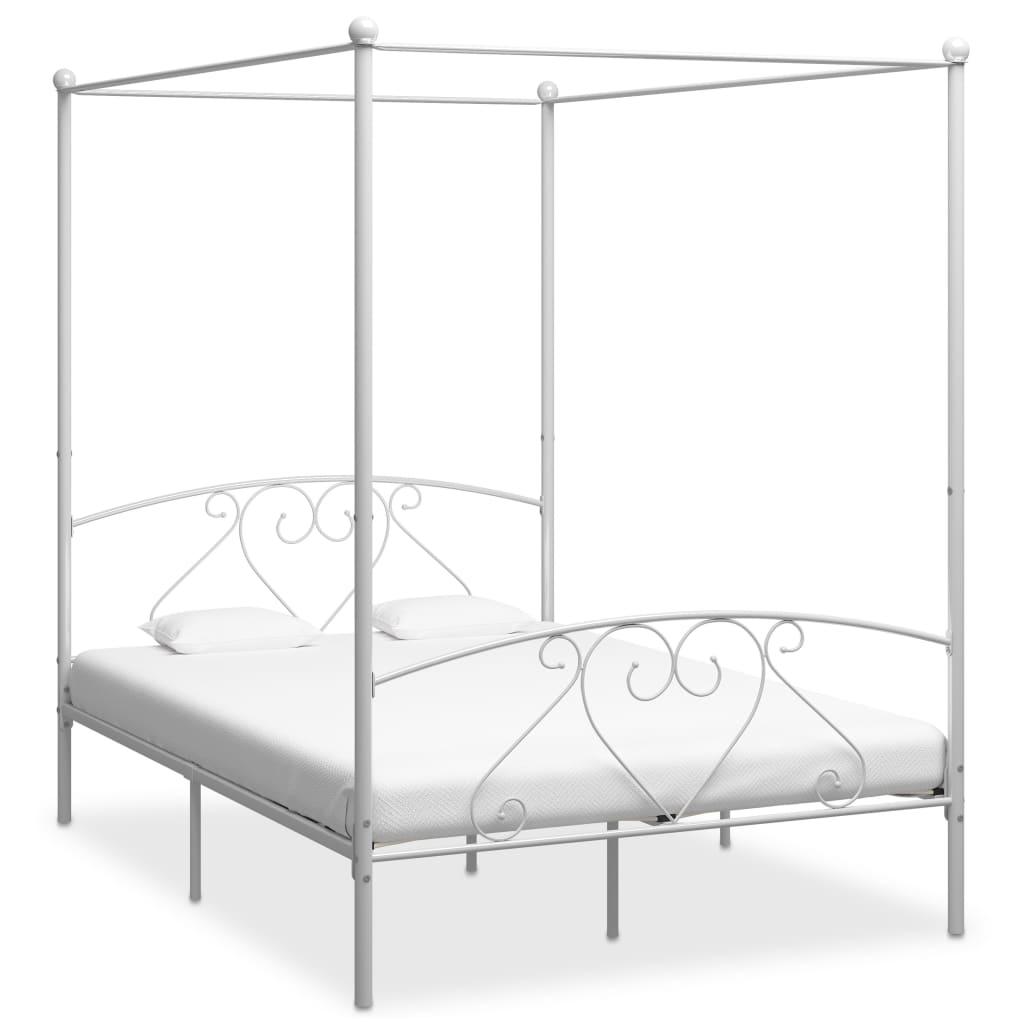 Baldahhiiniga voodiraam, valge, metall, 140 x 200..