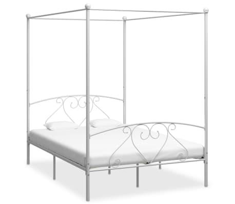 vidaXL Cadre de lit à baldaquin Blanc Métal 160 x 200 cm[1/5]