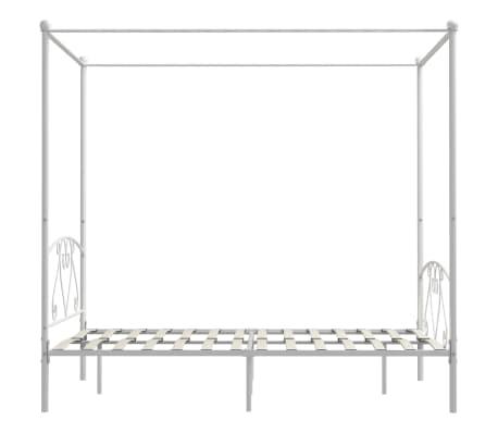 vidaXL Cadre de lit à baldaquin Blanc Métal 160 x 200 cm[4/5]