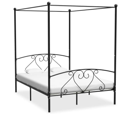 vidaXL Canopy Bed Frame Black Metal 160x200 cm