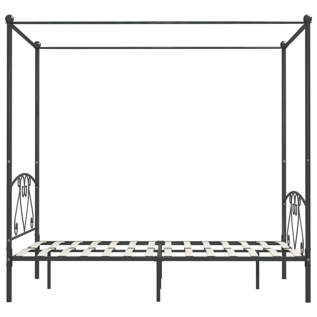 vidaXL Hemelbedframe metaal grijs 140x200 cm
