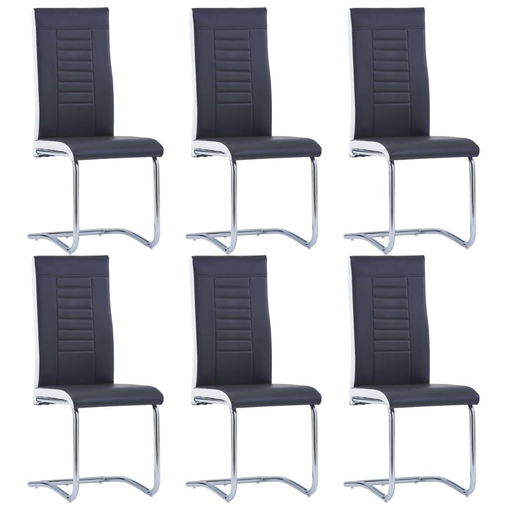 vidaXL Καρέκλες Τραπεζαρίας 6 τεμ. Μαύρες από Συνθετικό Δέρμα