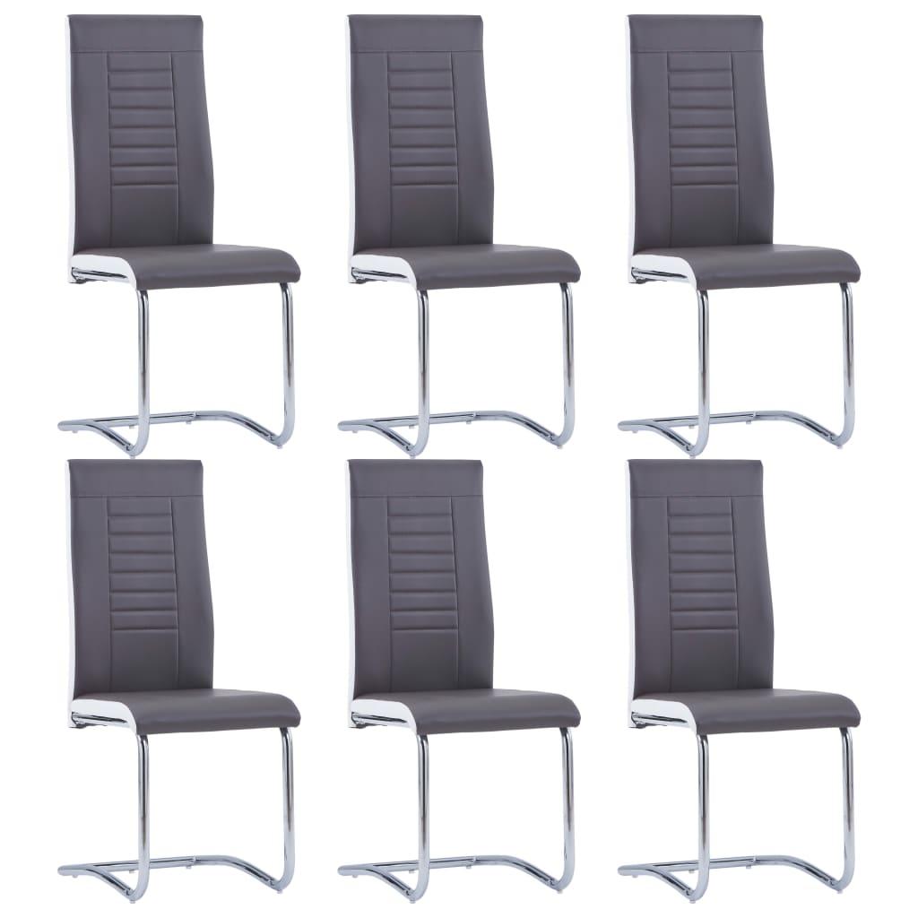 vidaXL Καρέκλες Τραπεζαρίας «Πρόβολος» 6 τεμ. Γκρι από Συνθετικό Δέρμα