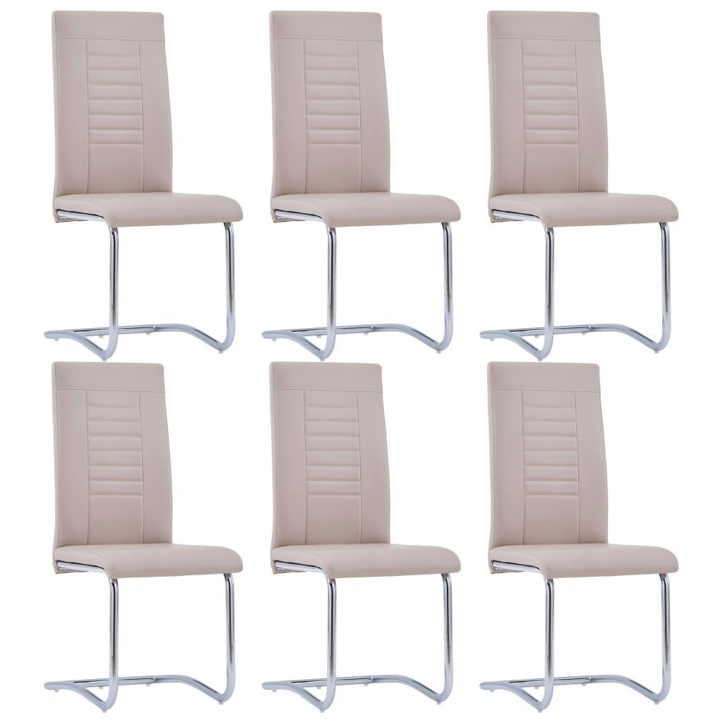 vidaXL Καρέκλες Τραπεζαρίας 6 τεμ. Χρώμα Καπουτσίνο Συνθετικό Δέρμα