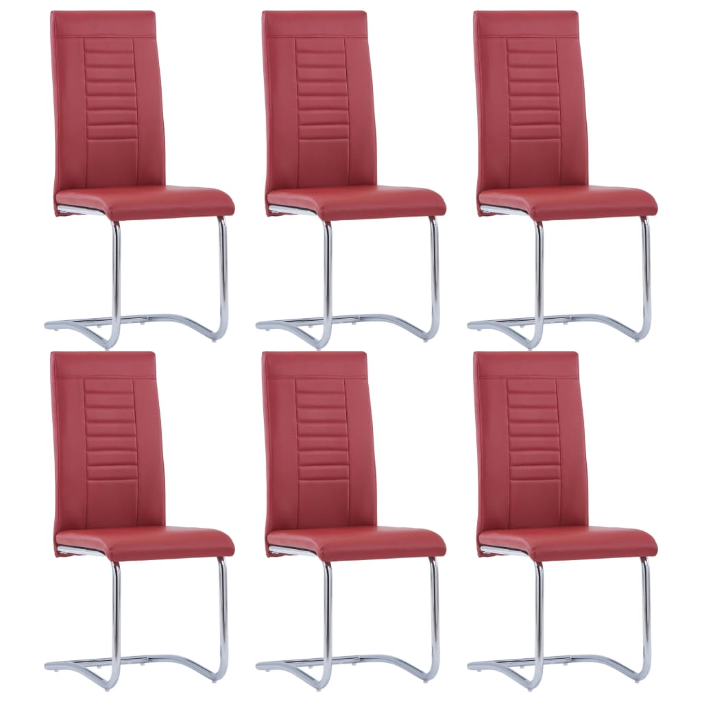 vidaXL Καρέκλες Τραπεζαρίας «Πρόβολος» 6 τεμ. Κόκκινες Συνθετικό Δέρμα