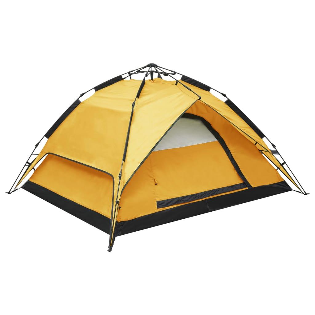 vidaXL Cort de camping pop-up, 2-3 persoane, galben, 240x210x140 cm vidaxl.ro