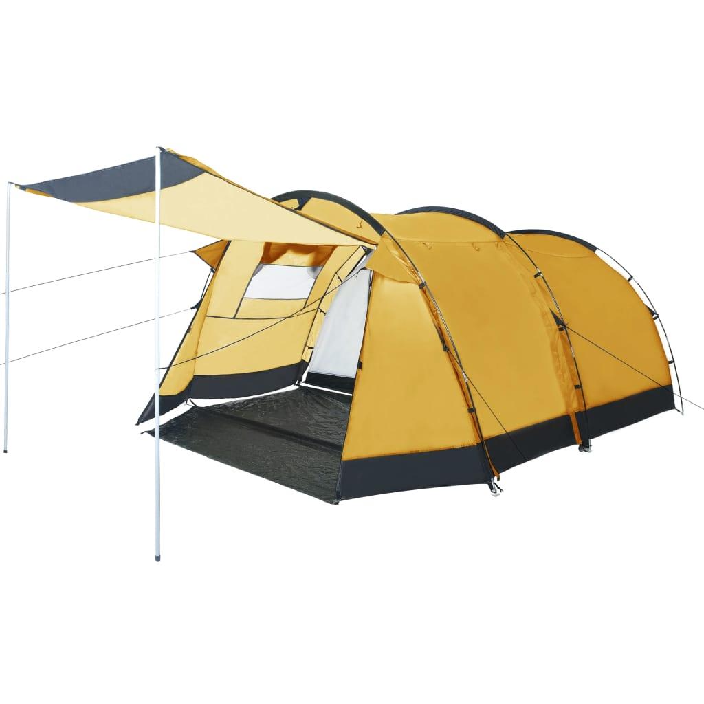 vidaXL Cort de camping tip tunel, 4 persoane, galben imagine vidaxl.ro