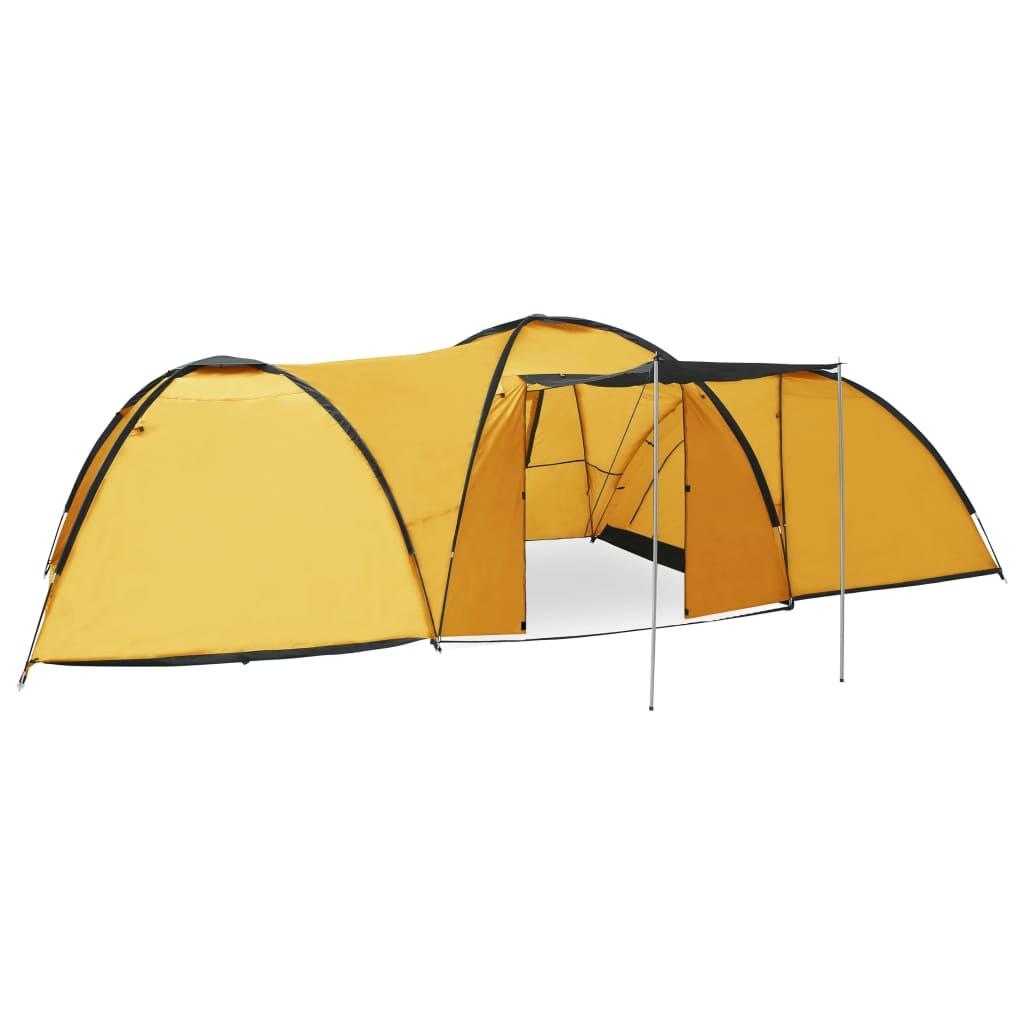 vidaXL Cort camping tip iglu, 8 persoane, galben, 650 x 240 x 190 cm vidaxl.ro