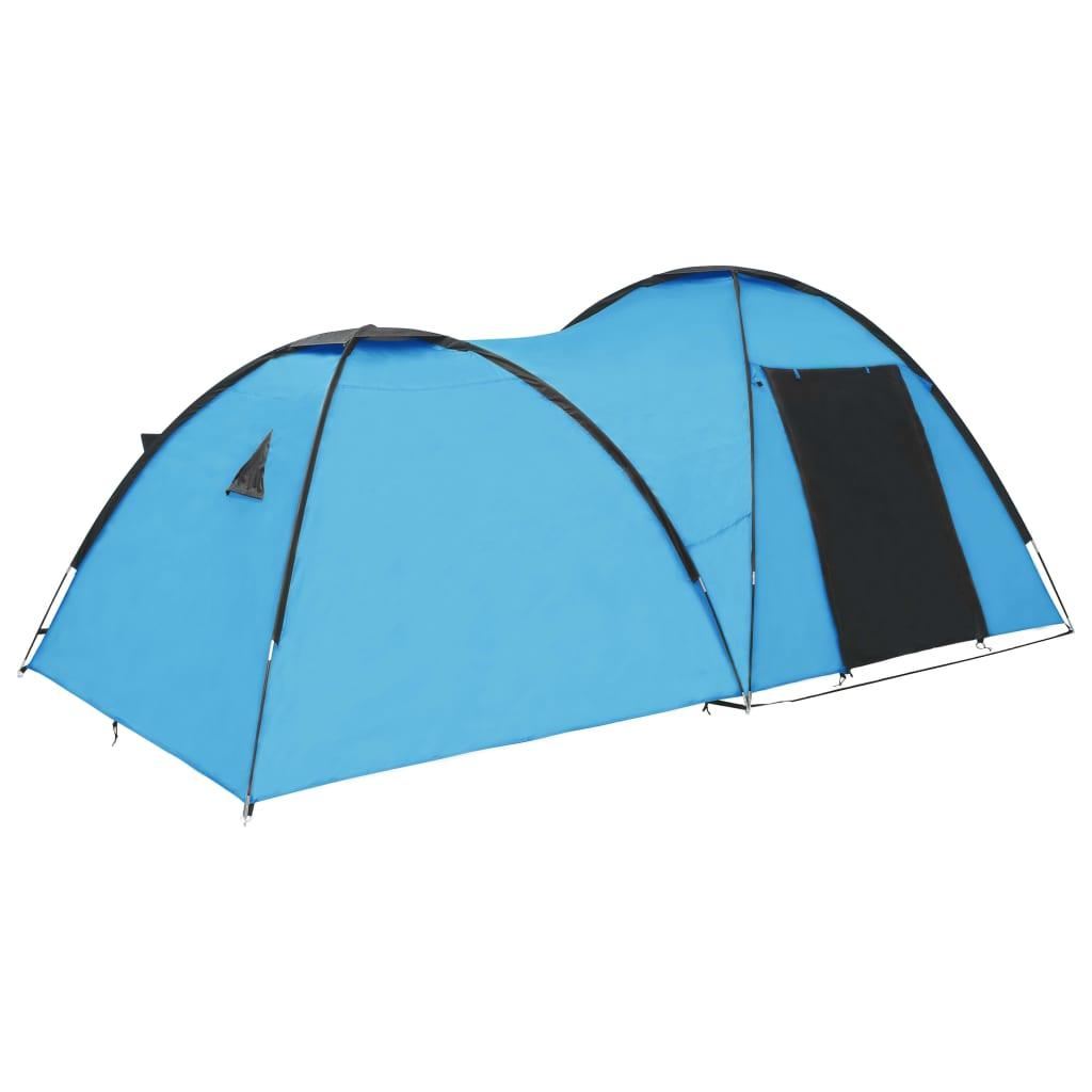 vidaXL Cort camping tip iglu, 4 persoane, albastru, 450x240x190 cm imagine vidaxl.ro