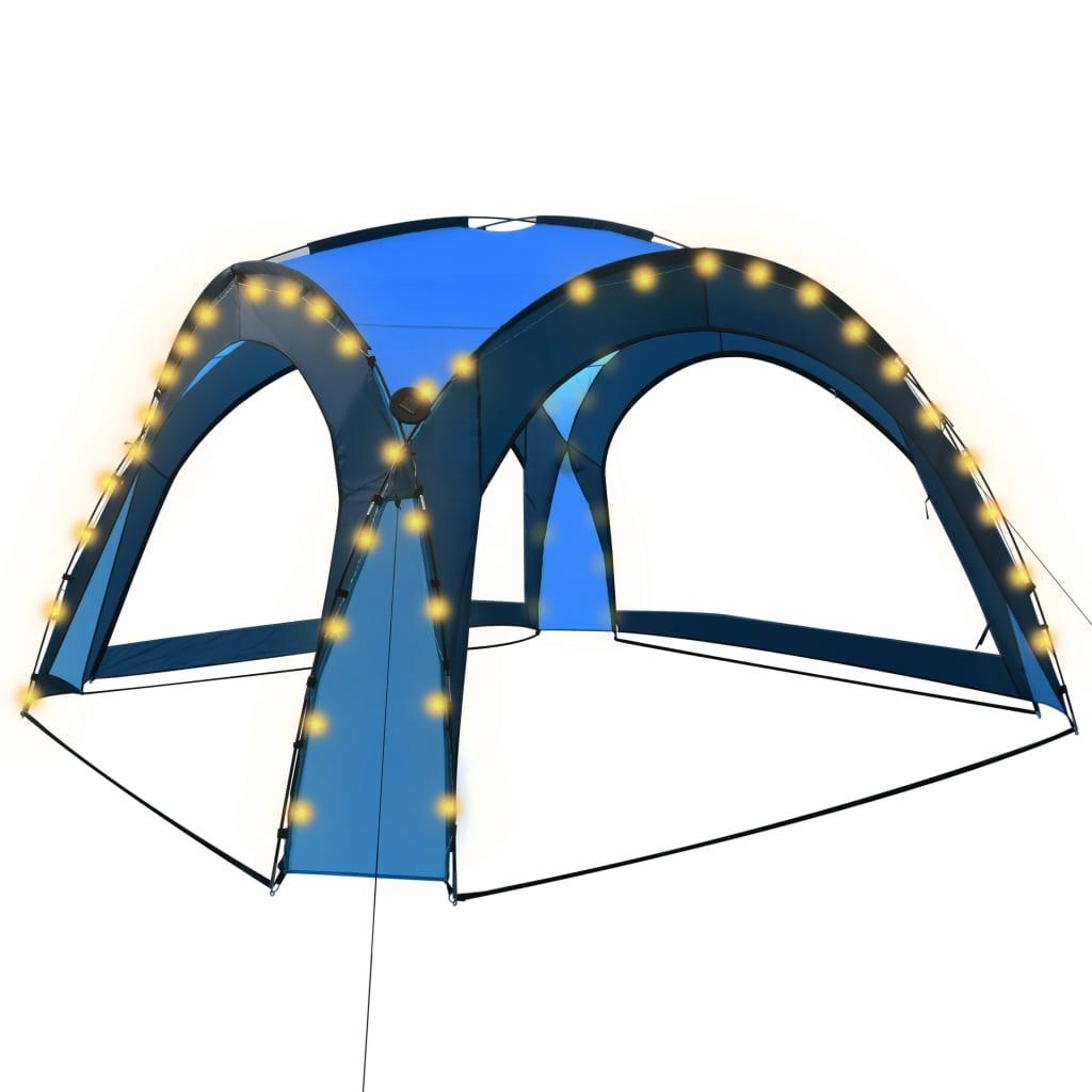 vidaXL Τέντα Εκδηλώσεων με LED και 4 Τοιχώματα Μπλε 3,6×3,6×2,3 μ.